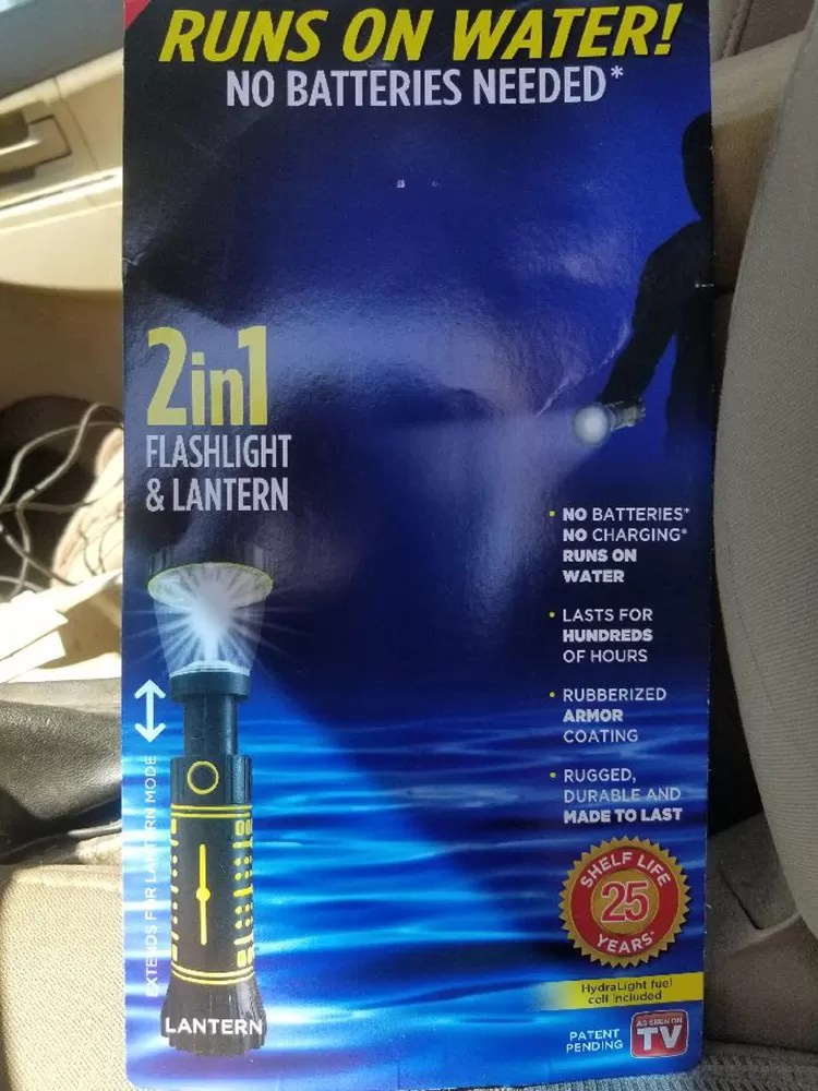 The Hydralight has nothing to do with mythical creatures or Harryhausen movies. It's a water-powered flashlight. The Hydralight comes with a plastic cell to dip inwater.
