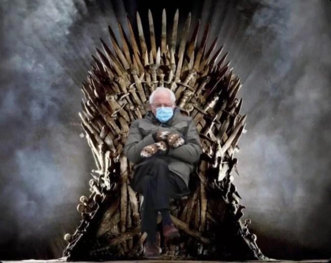 Bernie Sanders atop the Iron Throne