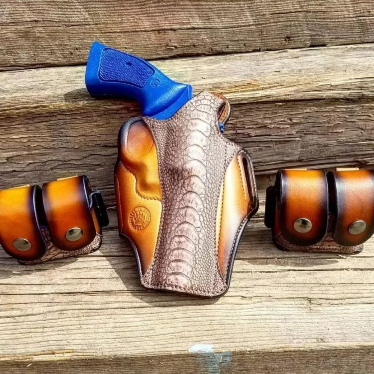 CCW rig for S&W 686 six shooter in .357 magnum - from the Breach-Bang-Clear Gunleather Threesome article - Just In Case Holsters