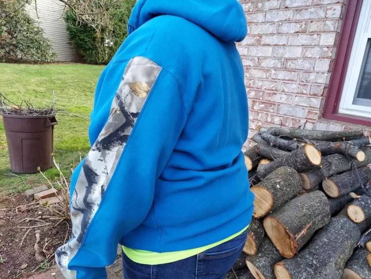 Legendary Whitetails camo hoodie Realtree camo sleeve detailing.