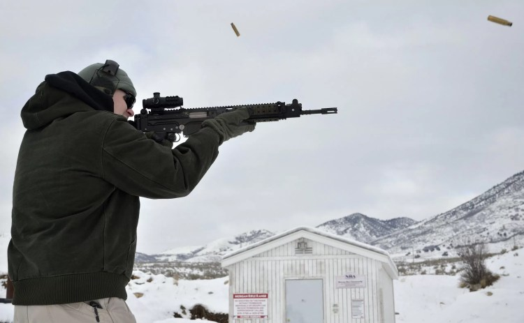 Author Mike Kupari practicing his shoot 'em up skills.