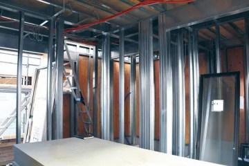 薄板軽量形鋼造の住宅の施工現場