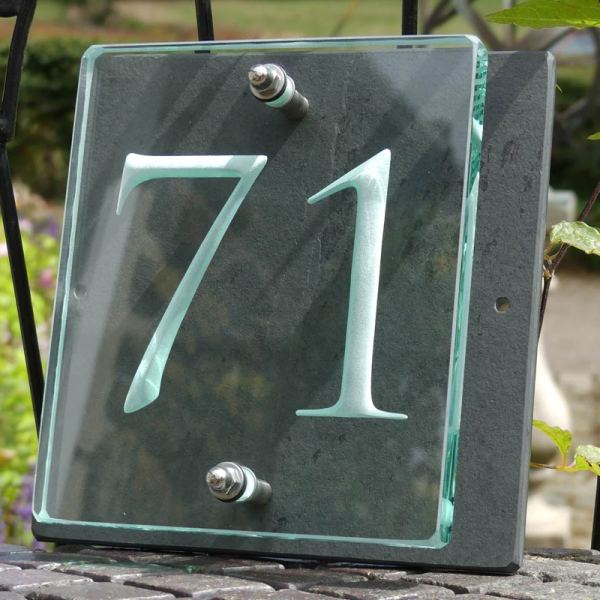 Small Glass House Number Plaque - Trajan Font