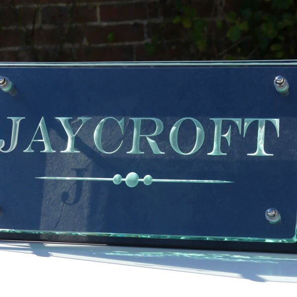 Large Glass and Slate House Name Plaque