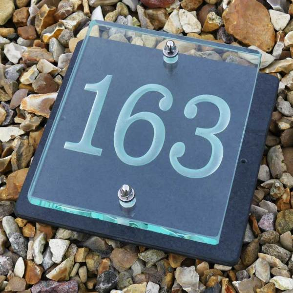 Small Glass House Number Plaque - Clarendon Font