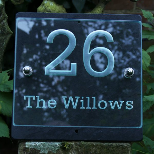 Small House Number and Name Plaque - Serifa BT Font