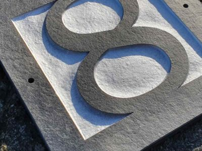 Number-8-slate-plaque-Clarendon-Lt-Bt-font-closeup