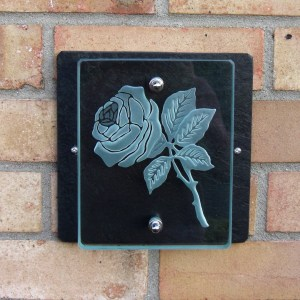 Bespoke glass house sign with engraved rose by Tim Carter