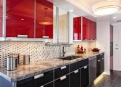 Kitchen Cabinets Painting: black and red
