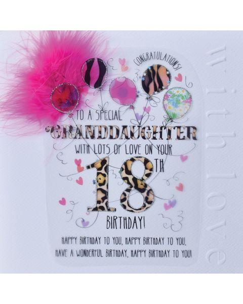 Wendy Jones Blackett Granddaughter 18th Birthday Card