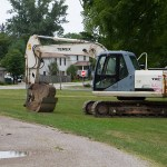 The excavator that is going to dig our septic system.