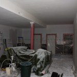 The aftermath of spray painting the ceiling, its like it snowed.