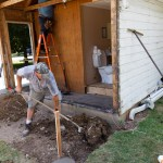 Moving the dirt from the footings