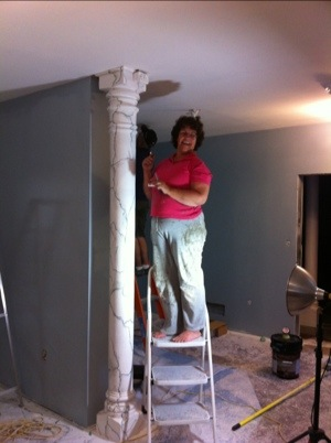 "Mom ""marbelizing"" our formerly pink support beams"