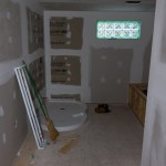 Bathroom drywall and shower base.