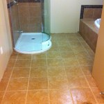 Master bathroom after getting tiled