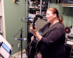 Leah recording some rough demos of the new songs