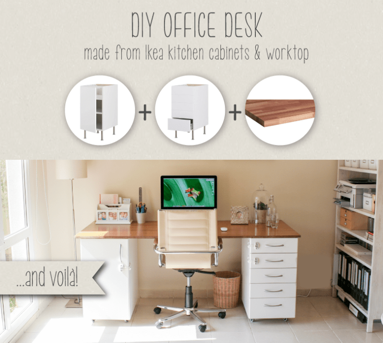 DIY office desk from IKEA kitchen cabinets