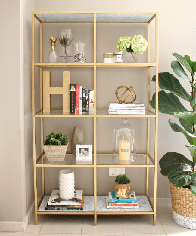 DIY gold bookshelf