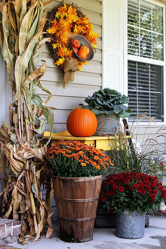 Traditional fall porch decor modern farmhouse style.