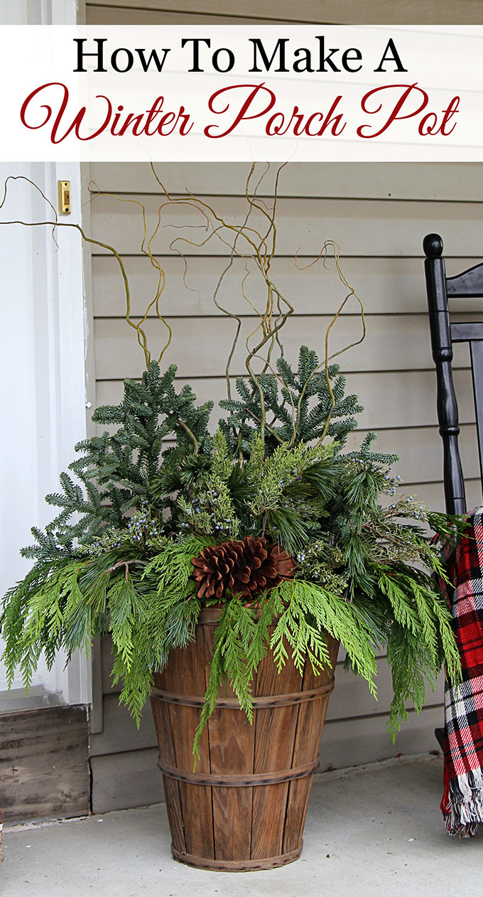 Quick And Easy Tutorial For Making These Gorgeous Winter Porch Pots Made In Baskets