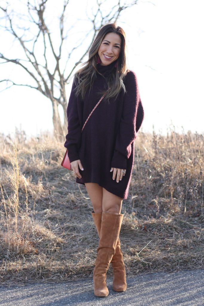 38 things about me featured by top Chicago life and style blog, House of Leo: image of a woman wearing an H&M sweater dress, Kelsi Dagger over the knee boots and Tory Burch shoulder bag.