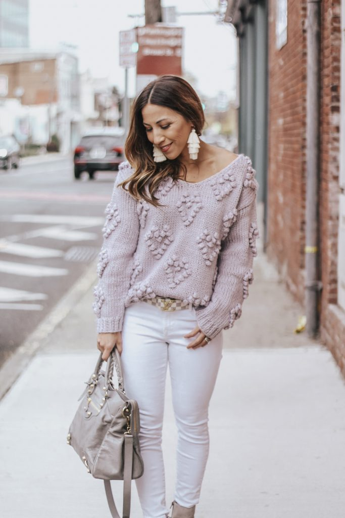 Valentine's Day Sweater featured by top US fashion blog House of Leo Blog; Image of a woman wearing a lavender sweater from chicwish