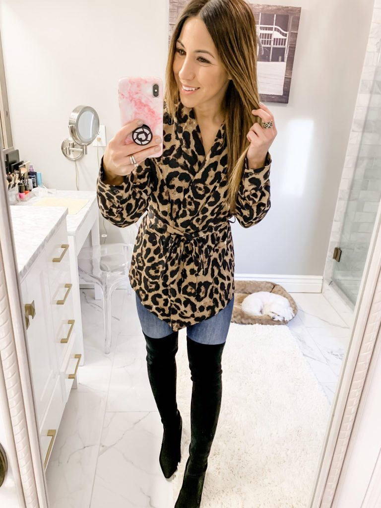 SheIn Haul by top US fashion blog, House of Leo Blog: image of a woman wearing a leopard belted blazer and over the knee boots from Goodnight Macaroon