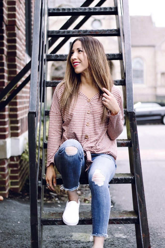 Casual Tops for under $40 from Pinkblush by top US fashion blog, House of Leo Blog: image of a woman wearing Express Petite Mid Rise Raw Hem Stretch Cropped Leggings and Striped Button Down Knit Top