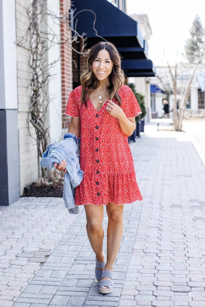 Cute Floral Dresses from Goodnight Macaroon by top US fashion blog, House of Leo Blog: image of woman wearing short red dress and Kenneth Cole wedge espadrilles