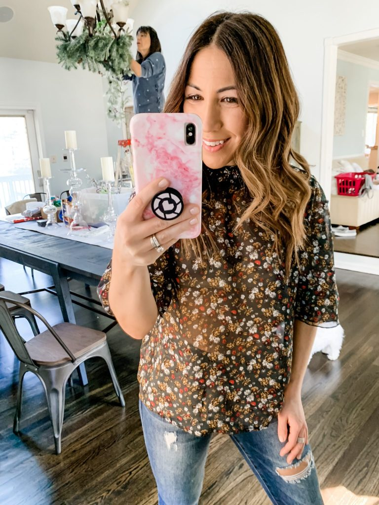 Amazon Haul by top US fashion blog, House of Leo Blog: Floerns Women's Floral Print High Neck Puff Long Sleeve Chiffon Blouse