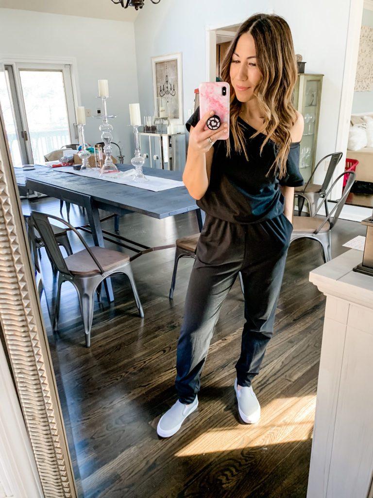 Amazon Haul by top US fashion blog, House of Leo Blog: Angashion Women's Jumpsuits - Crewneck One Off Shoulder Short Sleeve Elastic Waist