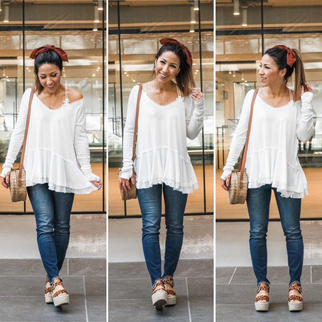 10 MUST HAVE ITEMS TO ADD TO YOUR CLOSET THIS SPRING by top US fashion blog, House of Leo Blog: image of woman wearing Free People tangerine white top, kut from the kloth jeans, Marc Fisher Rex Espadrilles