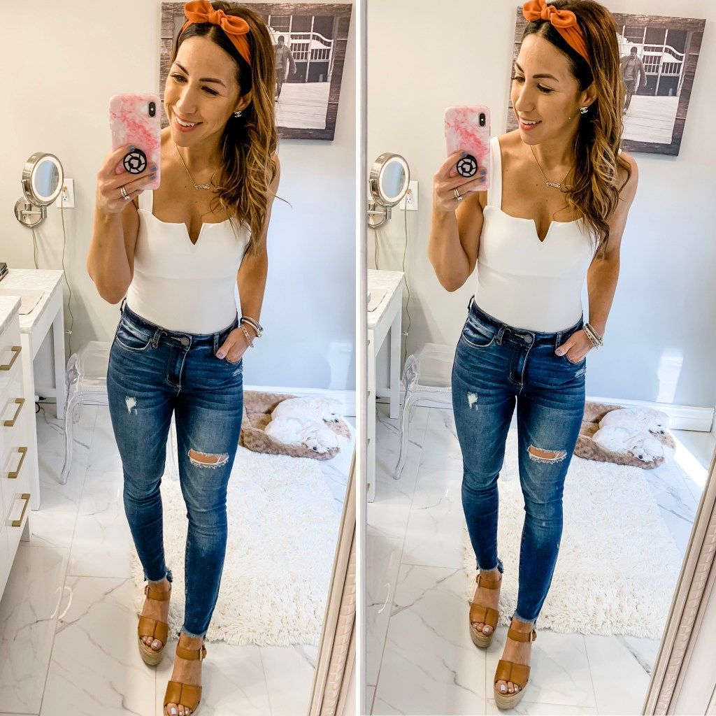 SheIn Haul by top US fashion blog, House of Leo Blog: image of woman wearing v-cut front bodysuit
