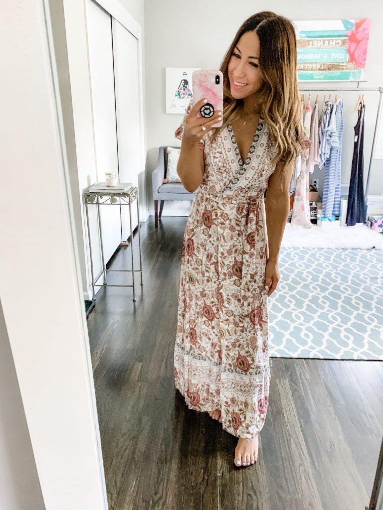 Amazon Haul by top US fashion blog, House of Leo Blog: image of woman wearing PRETTYGARDEN Women's Summer V Neck Wrap Vintage Floral Print Short Sleeve Split Belted Flowy Boho Beach Long Dress
