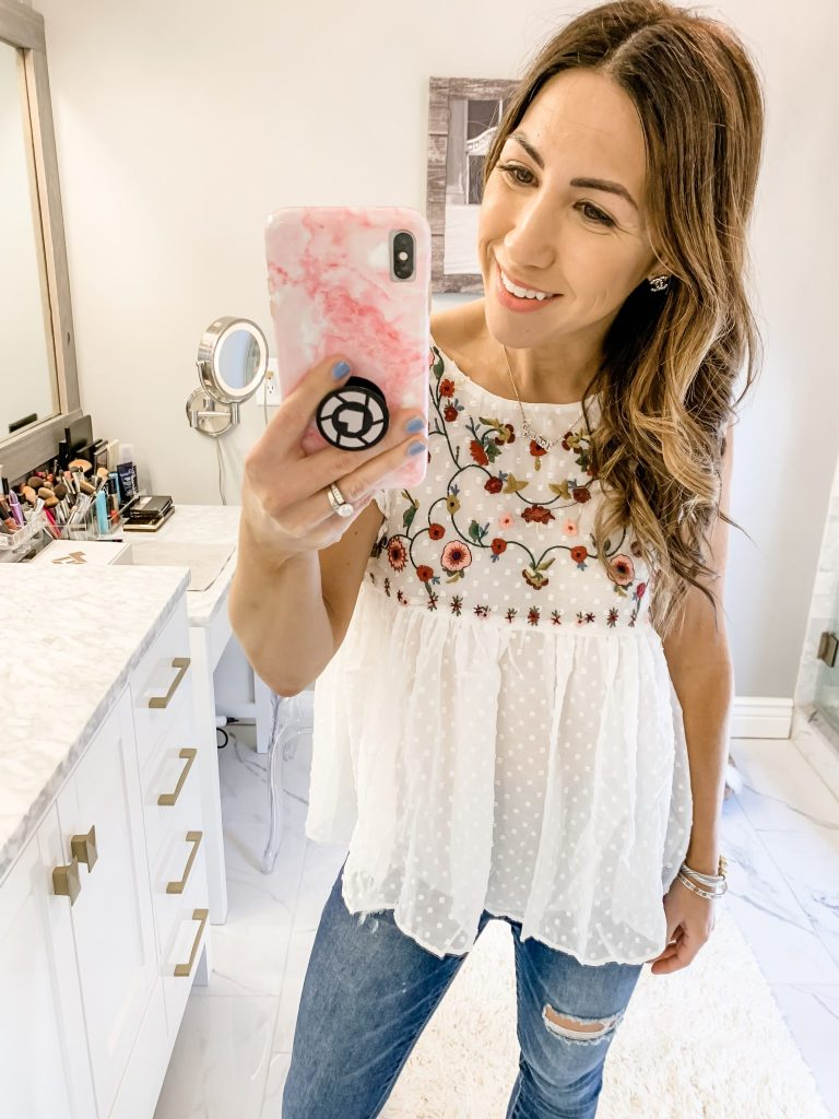 SheIn Haul by top US fashion blog, House of Leo Blog: image of woman wearing Flower Embroidery Pleated Hem Ruffle Trim Top