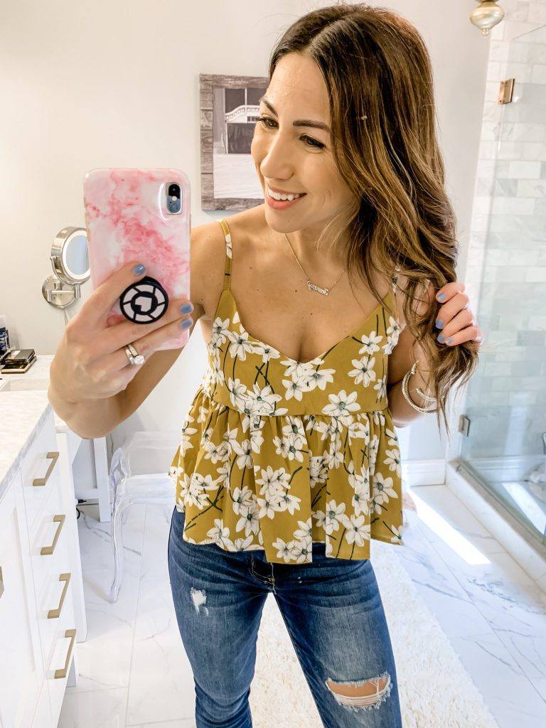 SheIn Haul by top US fashion blog, House of Leo Blog: image of woman wearing Floral Print Random Babydoll Cami Top