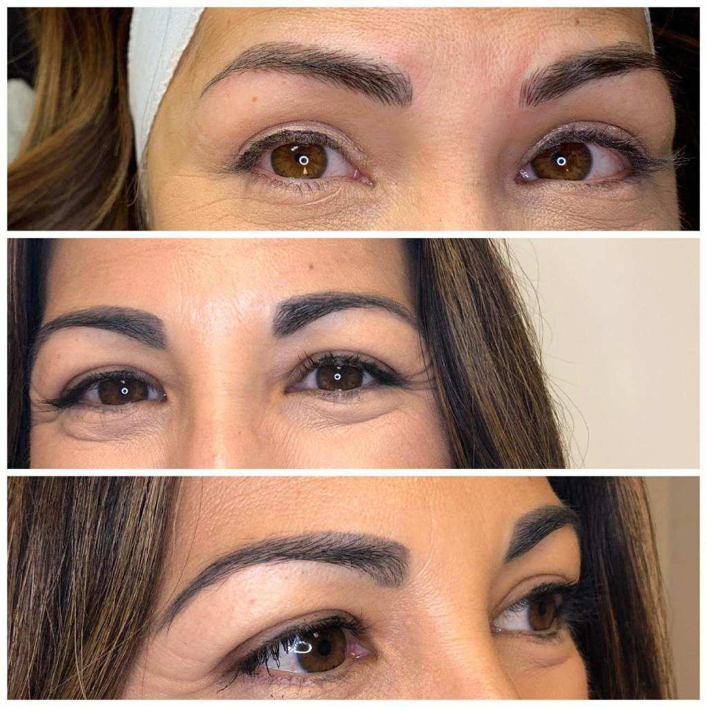 Microblading Update at Modern Beauty Studio by top US beauty blog, House of Leo Blog: image of microbladed brow progress