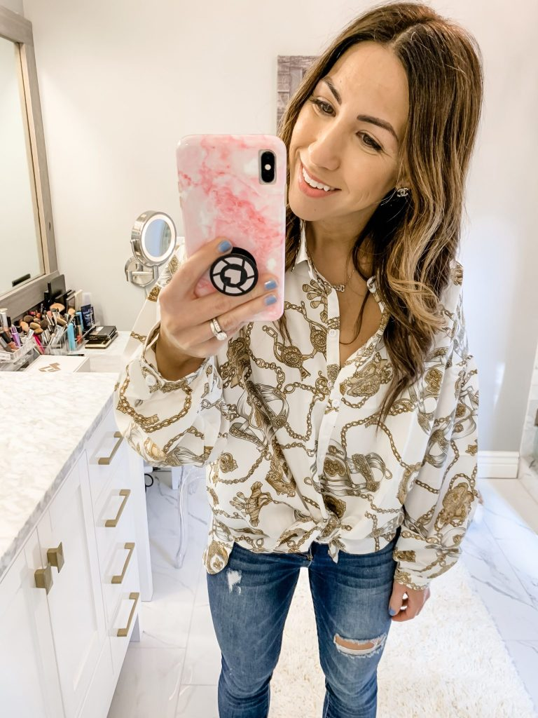 SheIn Haul by top US fashion blog, House of Leo Blog: image of woman wearing satin chain print blouse