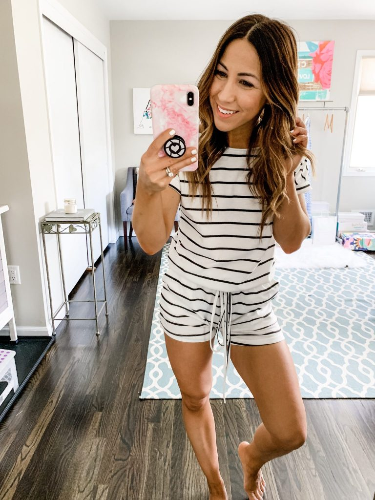 Amazon Haul by top US fashion blog, House of Leo Blog: image of woman wearing ANRABESS Short Sleeve Rompers with Pockets