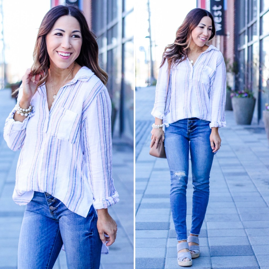 Evereve Spring Pieces Under $100 by top US fashion blog, House of Leo Blog: Image of woman wearing Sanctuary tunic, Kut from the Kloth denim, Kenneth Cole espadrilles