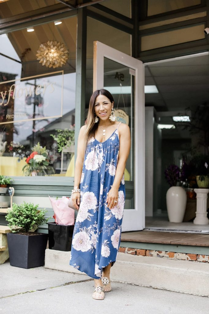 Massive Spring Instagram Roundup by top US fashion blog, House of Leo Blog: image of woman wearing blue floral wide legged jumpsuit from Morning Lavender