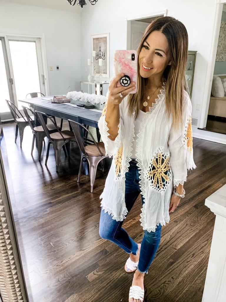 SheIn Haul by top US fashion blog, House of Leo Blog: image of woman wearing white crochet kimono