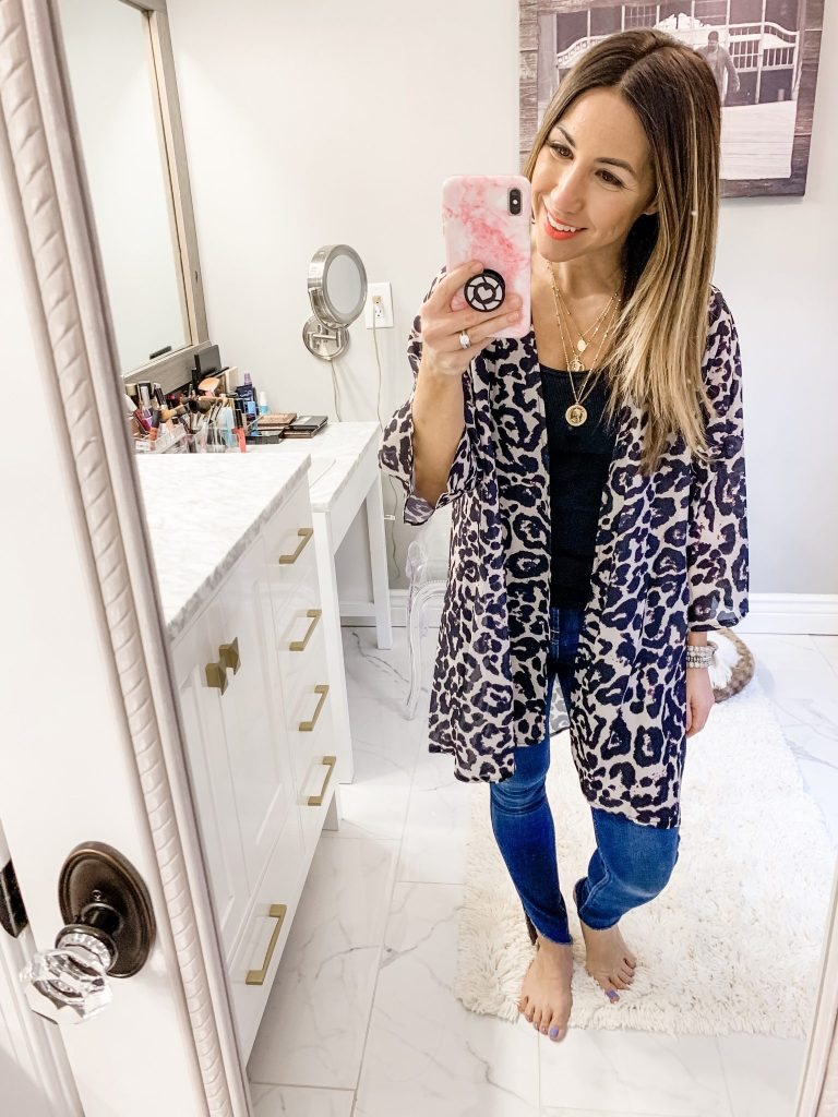 Amazon Haul by top US fashion blog, House of Leo Blog: image of woman wearingPINKMILLY Print leopard Kimono