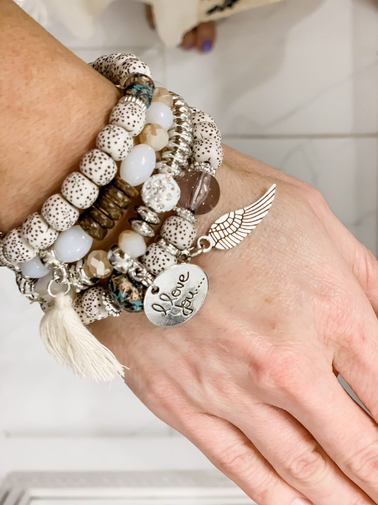 Amazon Haul by top US fashion blog, House of Leo Blog: image of woman wearing Meangel Bohemian Bracelet