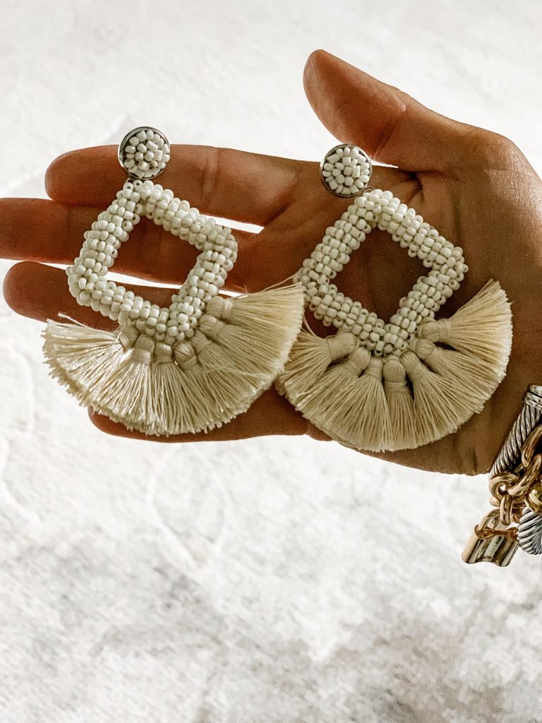 Amazon Haul June by top US fashion blog, House of Leo Blog: image of Dvacaman beaded tassel earrings