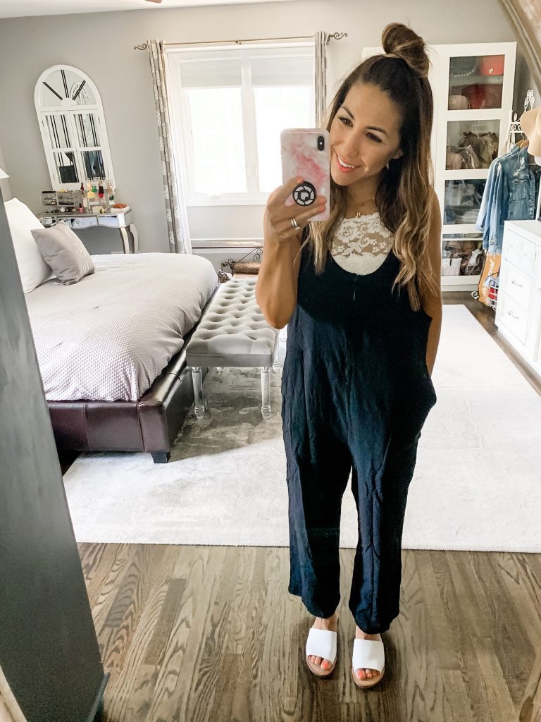 Amazon Haul June by top US fashion blog, House of Leo Blog: image of Romacci linen overalls and Mae high neck lace bralette