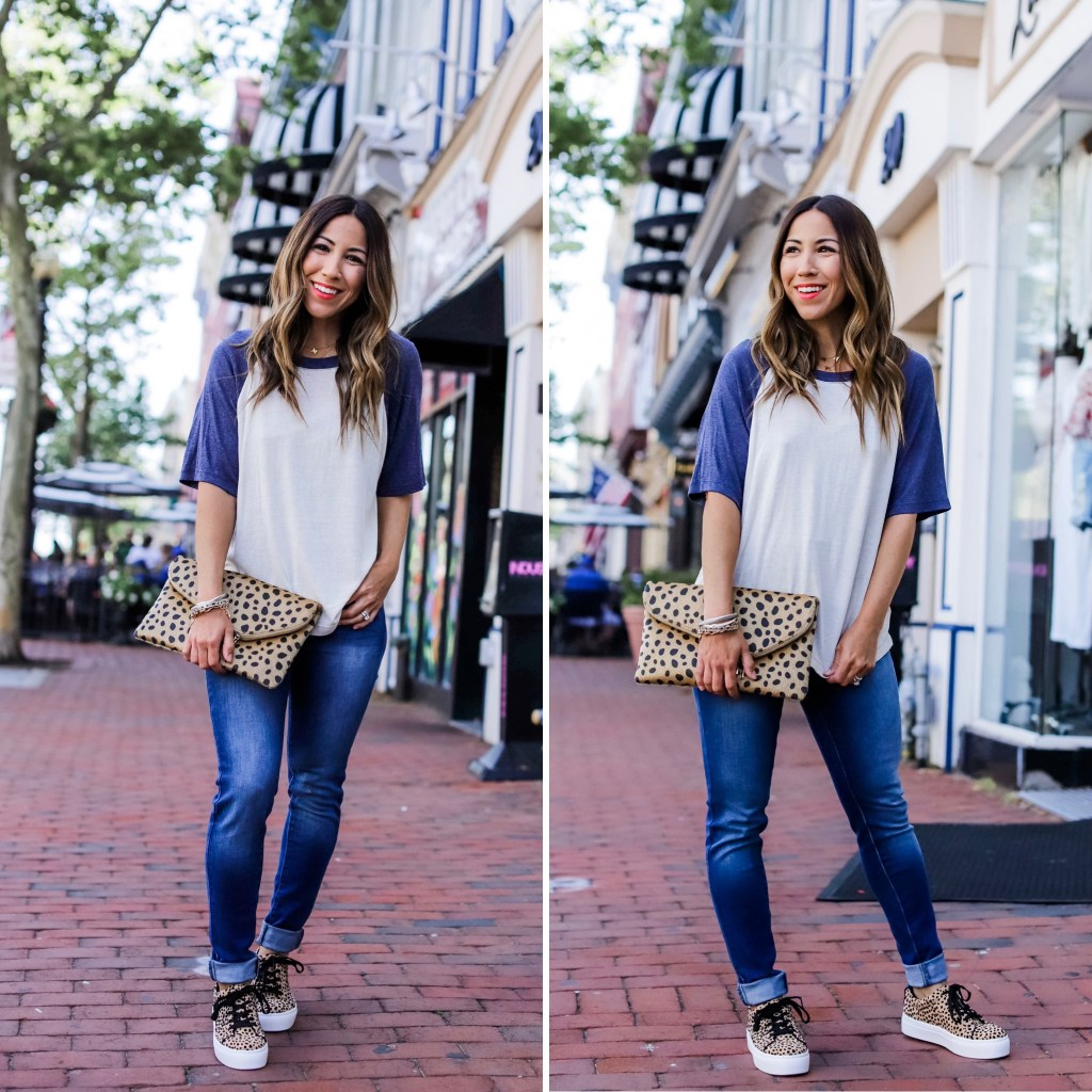 5 Simple Summer Looks from Red Dress Boutique by top US fashion blog, House of Leo Blog: image of woman wearing a blue and white baseball tee, high waisted jeans, leopard platform sneakers and leopard clutch