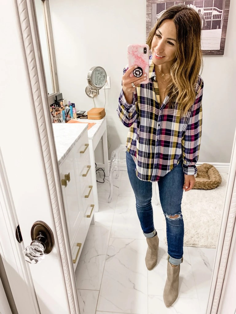 2019 Nordstrom Anniversary Sale First Day Try On by top US fashion blog, House of Leo Blog: image of woman wearing caslon plaid top, frame jeans, steve madden jillian booties