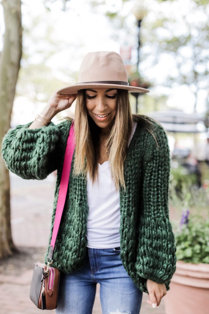 Fall Pieces From Goodnight Macaroon 40% off by top US fashion blog, House of Leo Blog: image of woman wearing green chunky cardigan and brown wool fedora hat